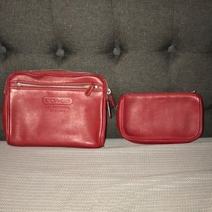 COACH Red Leather Make Up Set
